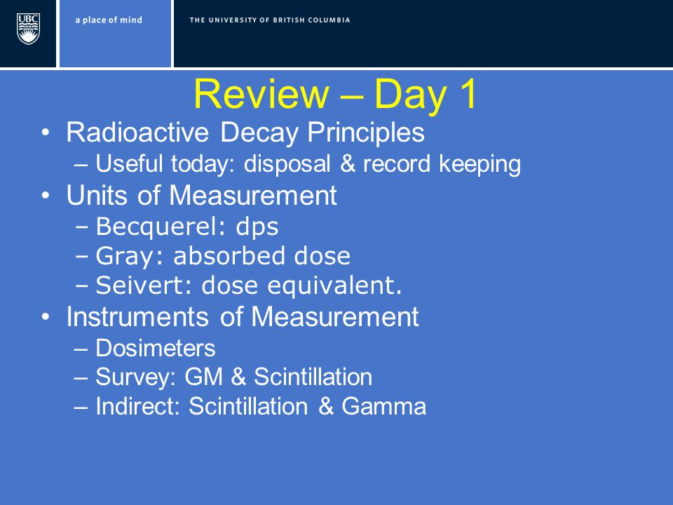 Review – Day 1 Radioactive Decay Principles –Useful today: disposal & record keeping Units of Measurement –Becquerel: dps –Gray: absorbed dose –Seivert: dose equivalent.
