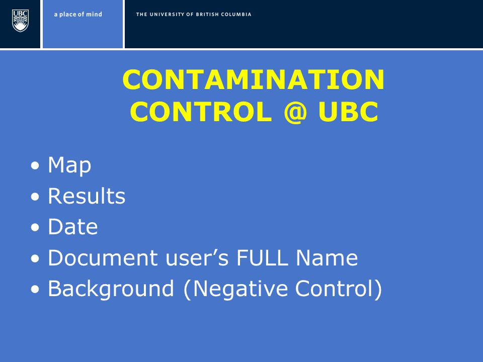 CONTAMINATION UBC Map Results Date Document user's FULL Name Background (Negative Control)