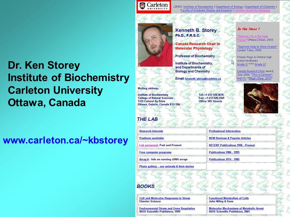 www.carleton.ca/~kbstorey Dr. Ken Storey Institute of Biochemistry Carleton University Ottawa, Canada