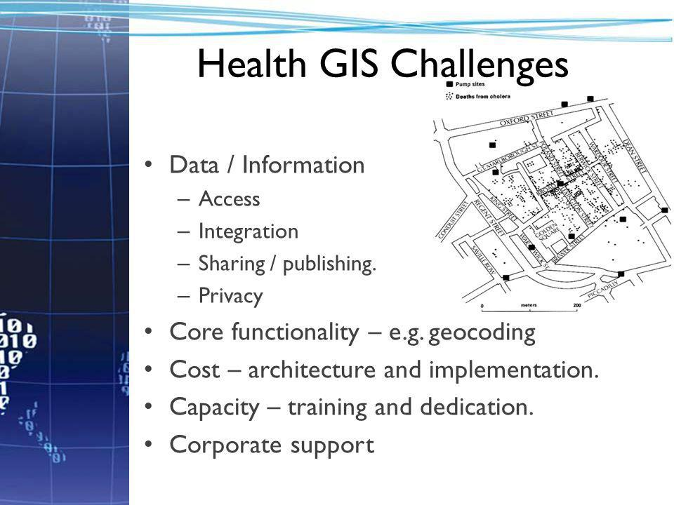 Health GIS Challenges Data / Information – Access – Integration – Sharing / publishing.