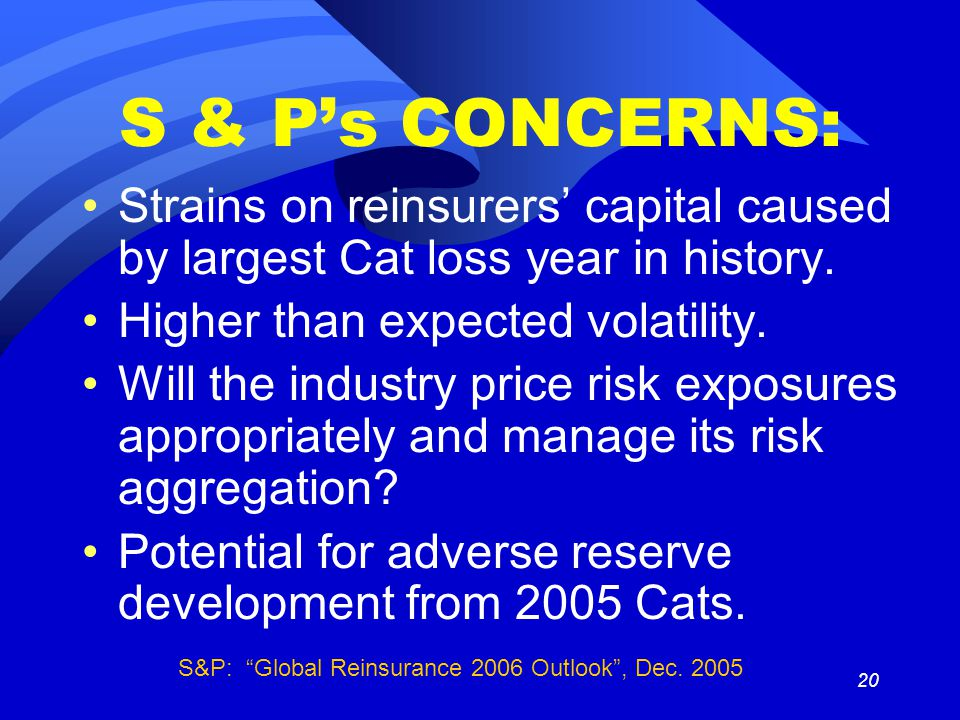 20 S & P's CONCERNS: Strains on reinsurers' capital caused by largest Cat loss year in history.