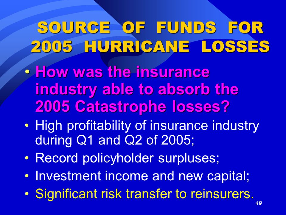 49 SOURCE OF FUNDS FOR 2005 HURRICANE LOSSES How was the insurance industry able to absorb the 2005 Catastrophe losses?How was the insurance industry able to absorb the 2005 Catastrophe losses.