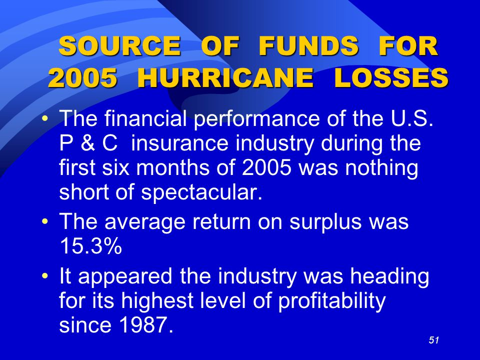 51 SOURCE OF FUNDS FOR 2005 HURRICANE LOSSES The financial performance of the U.S.