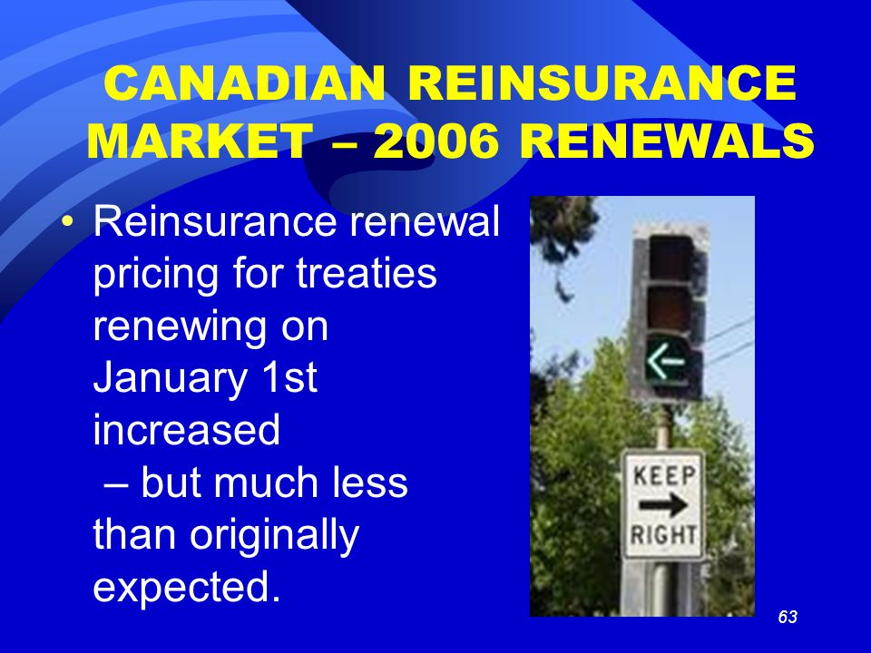 63 CANADIAN REINSURANCE MARKET – 2006 RENEWALS Reinsurance renewal pricing for treaties renewing on January 1st increased – but much less than originally expected.