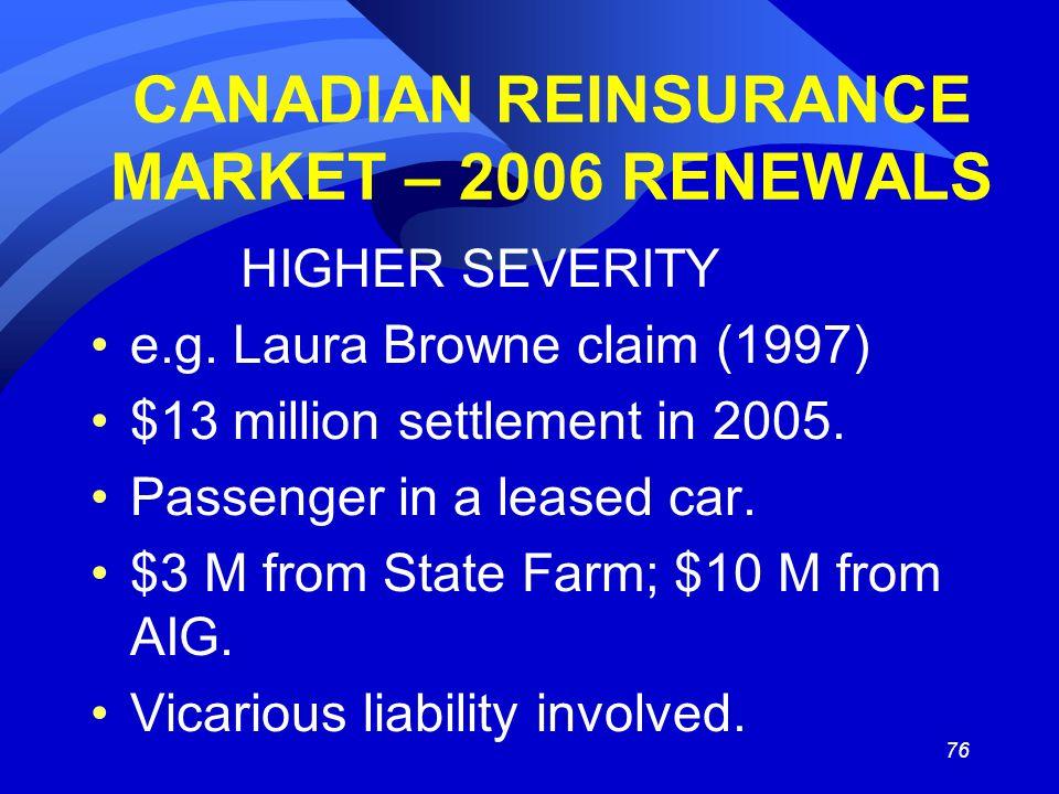 76 CANADIAN REINSURANCE MARKET – 2006 RENEWALS HIGHER SEVERITY e.g.