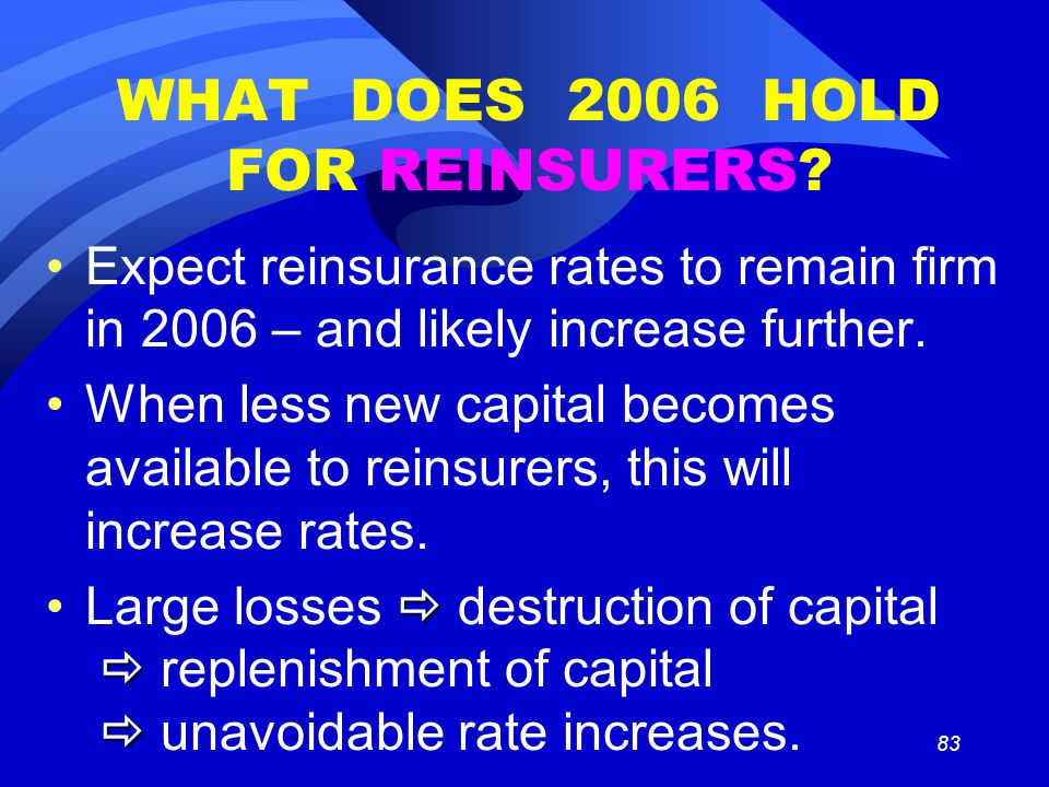 83 WHAT DOES 2006 HOLD FOR REINSURERS.
