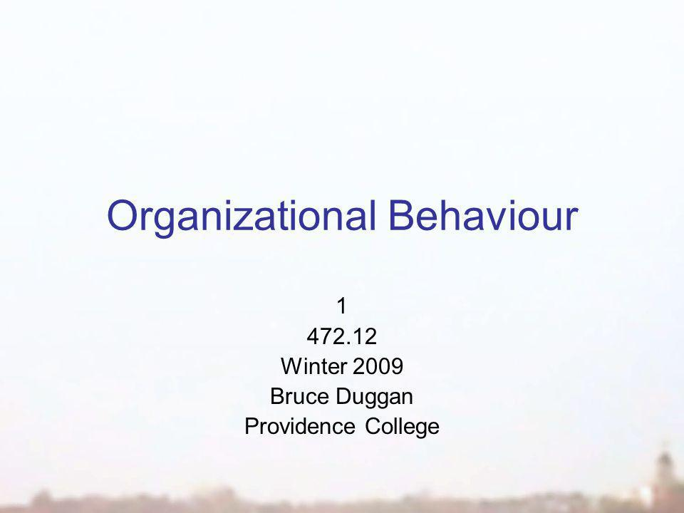 Organizational Behaviour 1 472.12 Winter 2009 Bruce Duggan Providence College