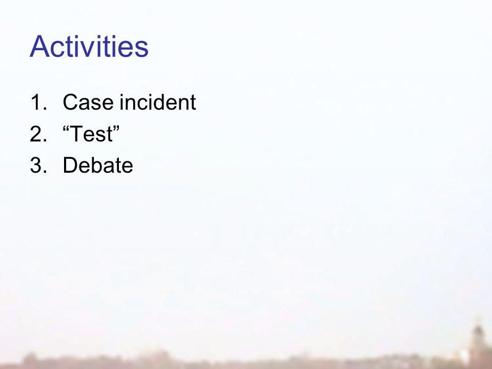Activities 1.Case incident 2. Test 3.Debate