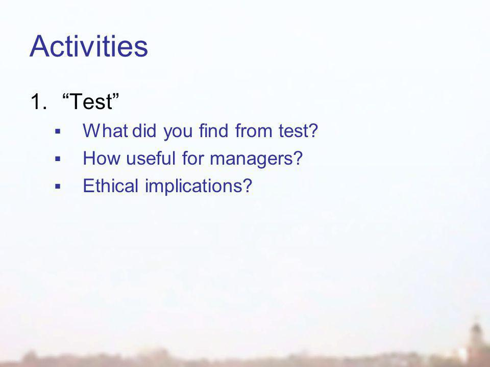 Activities 1. Test  What did you find from test.