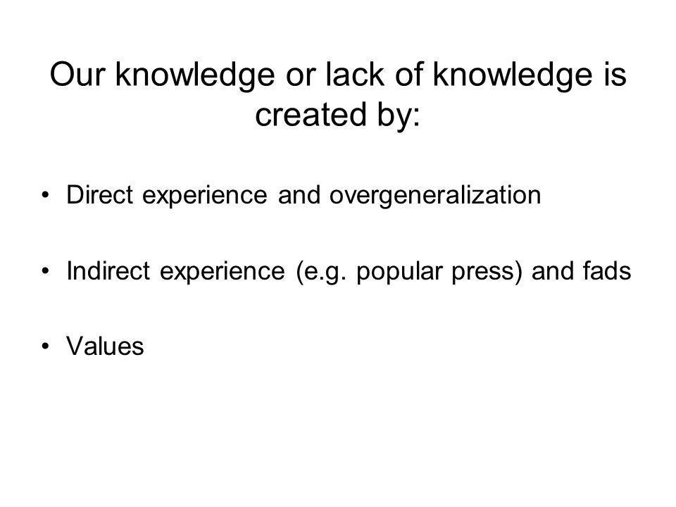 Our knowledge or lack of knowledge is created by: Direct experience and overgeneralization Indirect experience (e.g.