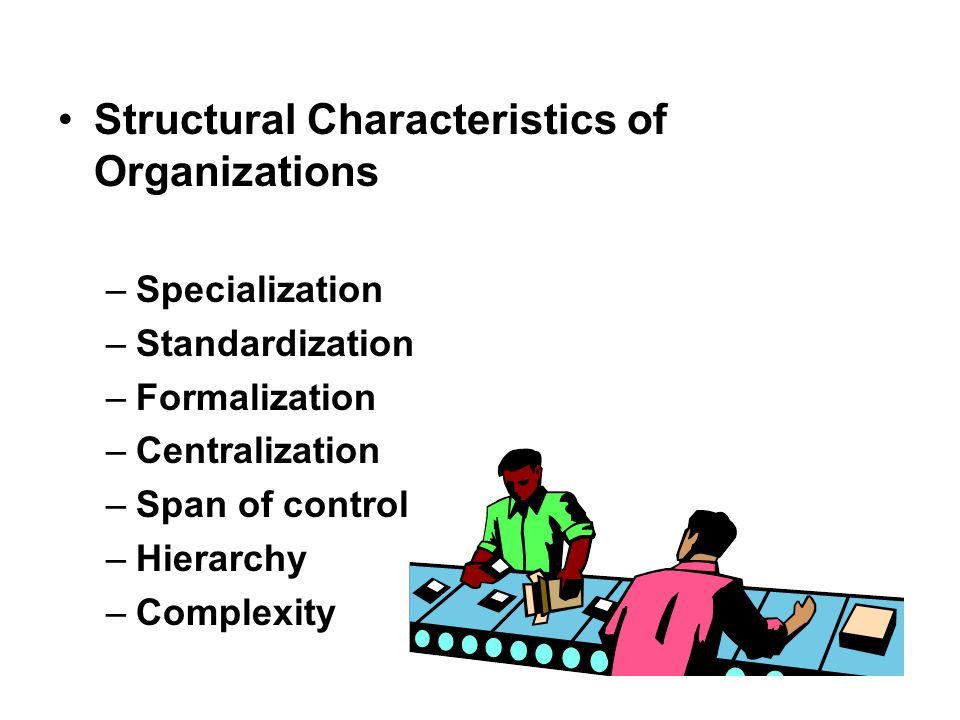 Structural Characteristics of Organizations –Specialization –Standardization –Formalization –Centralization –Span of control –Hierarchy –Complexity
