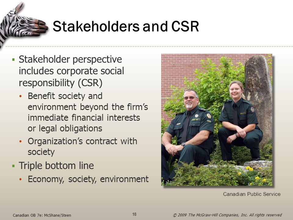 Stakeholders and CSR  Stakeholder perspective includes corporate social responsibility (CSR) Benefit society and environment beyond the firm's immedi