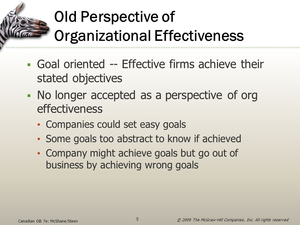 Old Perspective of Organizational Effectiveness  Goal oriented -- Effective firms achieve their stated objectives  No longer accepted as a perspecti