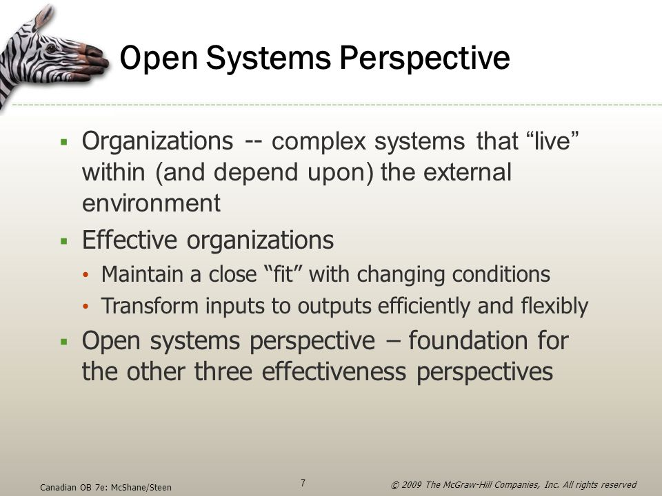 """Open Systems Perspective  Organizations -- complex systems that """"live"""" within (and depend upon) the external environment  Effective organizations Ma"""