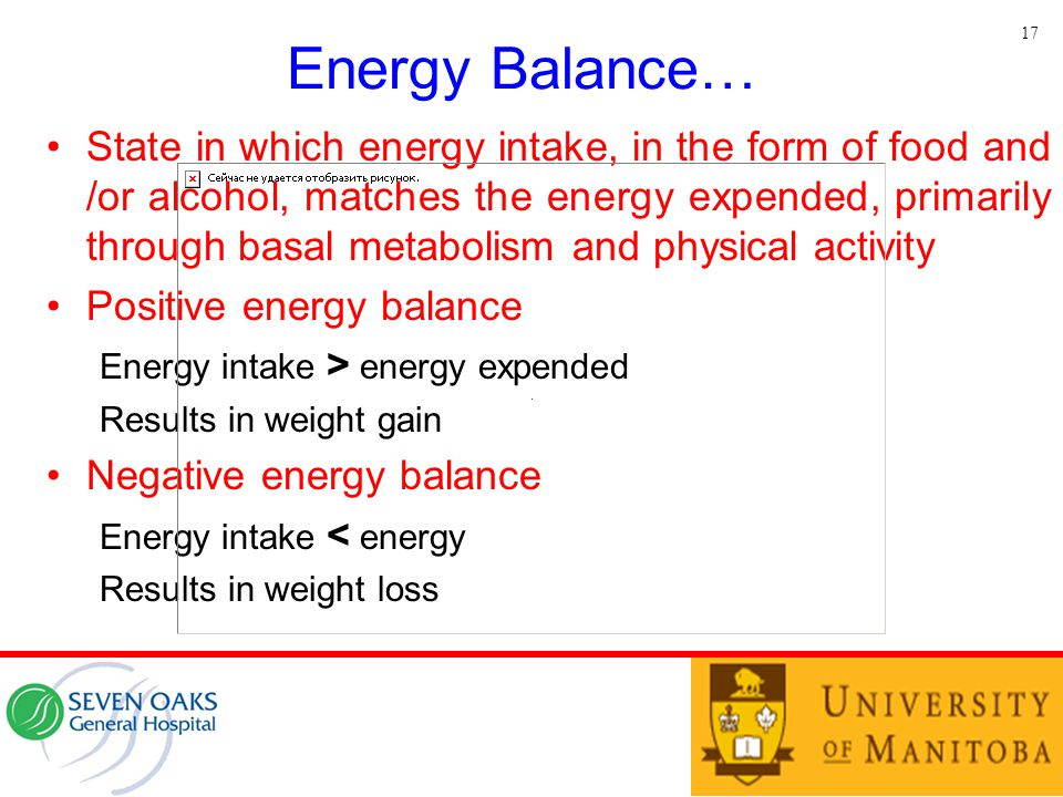 Energy Balance… State in which energy intake, in the form of food and /or alcohol, matches the energy expended, primarily through basal metabolism and