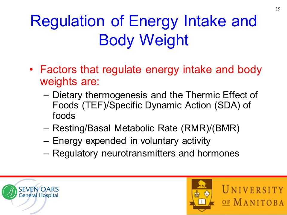 Regulation of Energy Intake and Body Weight Factors that regulate energy intake and body weights are: –Dietary thermogenesis and the Thermic Effect of