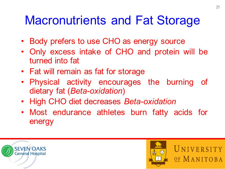 Macronutrients and Fat Storage Body prefers to use CHO as energy source Only excess intake of CHO and protein will be turned into fat Fat will remain