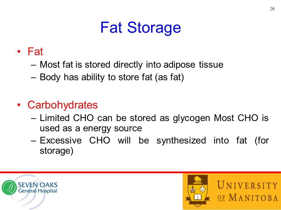 Fat Storage Fat –Most fat is stored directly into adipose tissue –Body has ability to store fat (as fat) Carbohydrates –Limited CHO can be stored as g