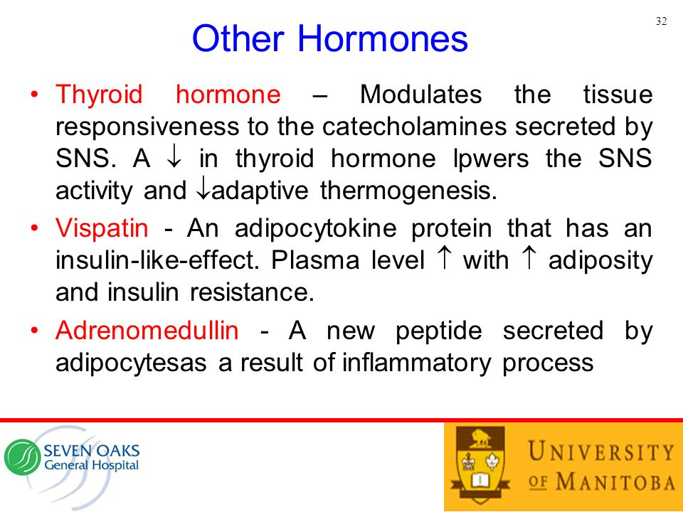 Other Hormones Thyroid hormone – Modulates the tissue responsiveness to the catecholamines secreted by SNS. A  in thyroid hormone lpwers the SNS acti