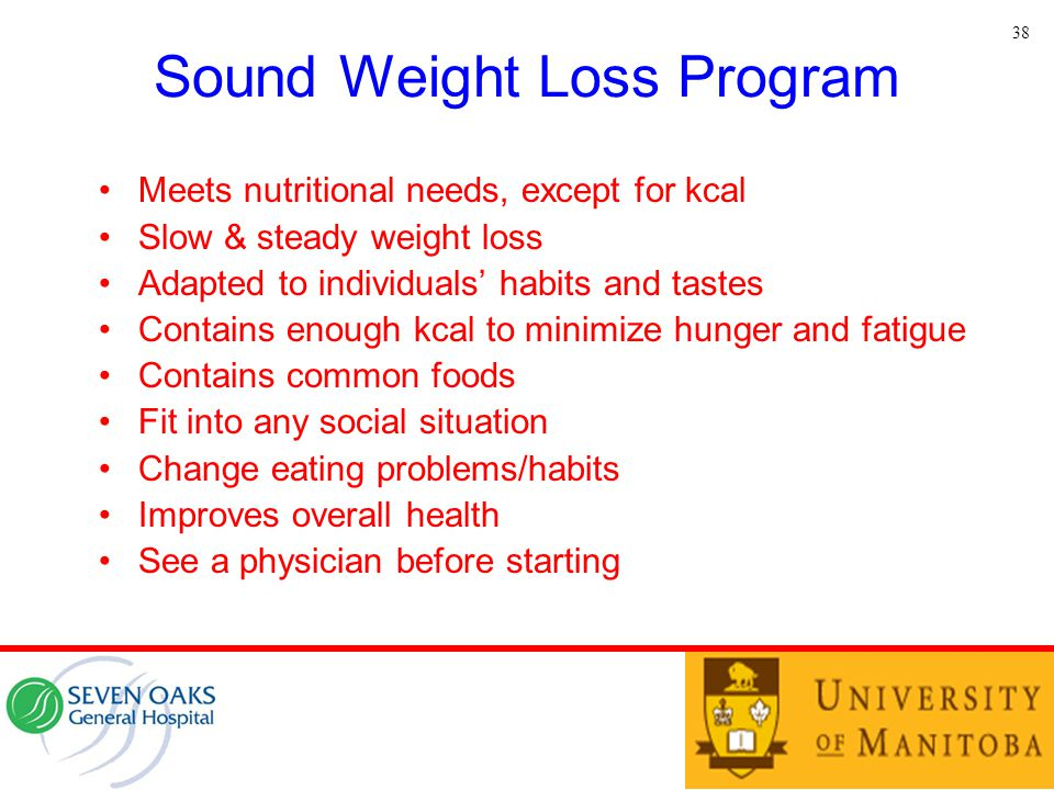 Sound Weight Loss Program Meets nutritional needs, except for kcal Slow & steady weight loss Adapted to individuals' habits and tastes Contains enough