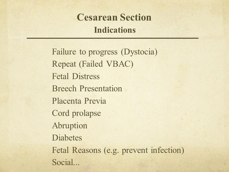 Cesarean Section Indications Failure to progress (Dystocia) Repeat (Failed VBAC) Fetal Distress Breech Presentation Placenta Previa Cord prolapse Abru