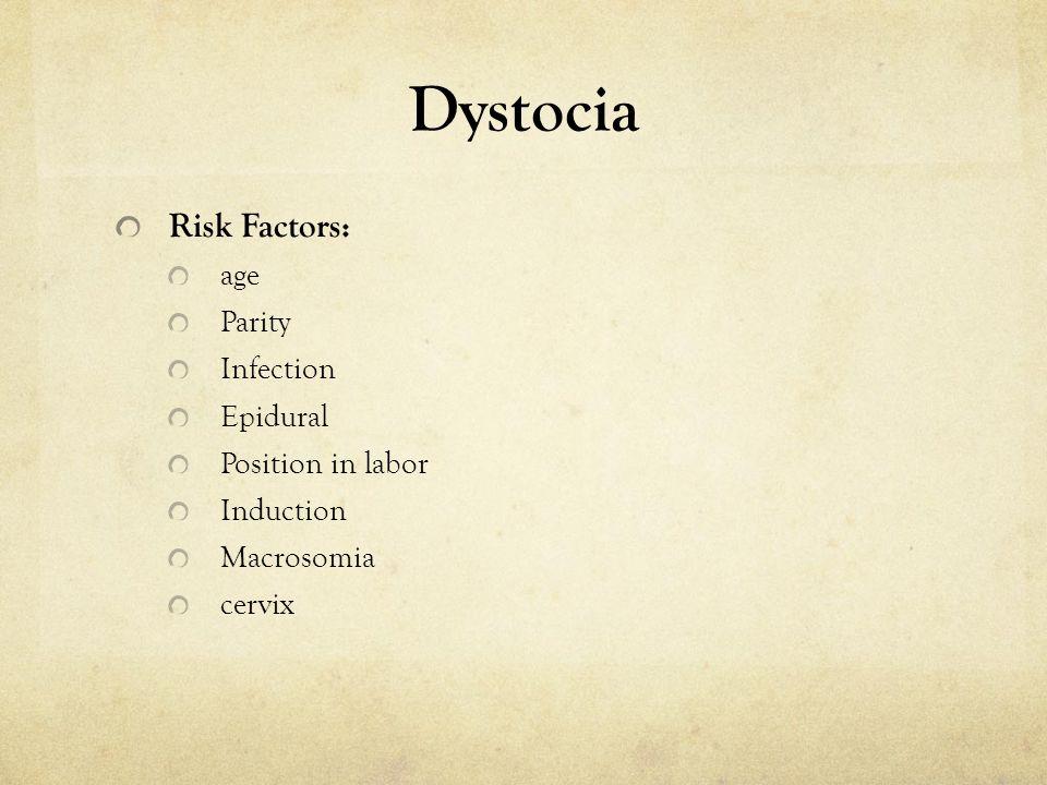 Dystocia Risk Factors: age Parity Infection Epidural Position in labor Induction Macrosomia cervix