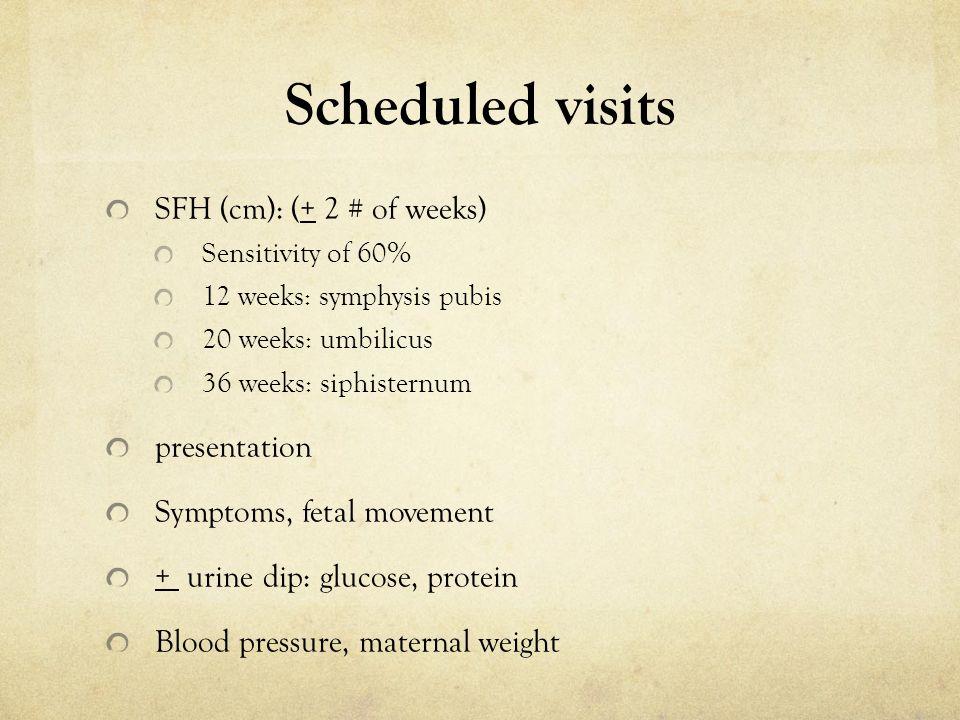 Scheduled visits SFH (cm): (+ 2 # of weeks) Sensitivity of 60% 12 weeks: symphysis pubis 20 weeks: umbilicus 36 weeks: siphisternum presentation Sympt