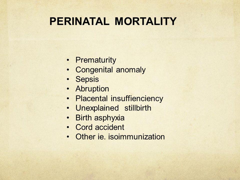 PERINATAL MORTALITY RATE ONTARIO:5/1000 Developing:100/1000