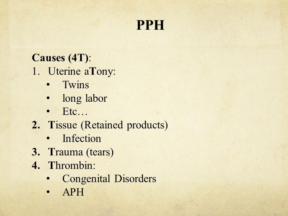 PPH Treatment 1.Conservative: Deliver the placental Bimanual compression Uterine packing IV, xmatch, blood bank (PRBC, FFP, …) 2.Medical: Ergot Hemabate Oxytocin cytotec