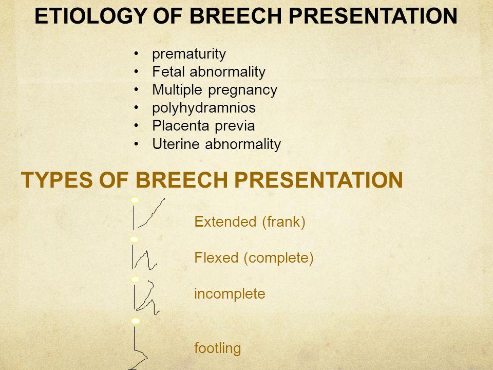ETIOLOGY OF BREECH PRESENTATION prematurity Fetal abnormality Multiple pregnancy polyhydramnios Placenta previa Uterine abnormality TYPES OF BREECH PR
