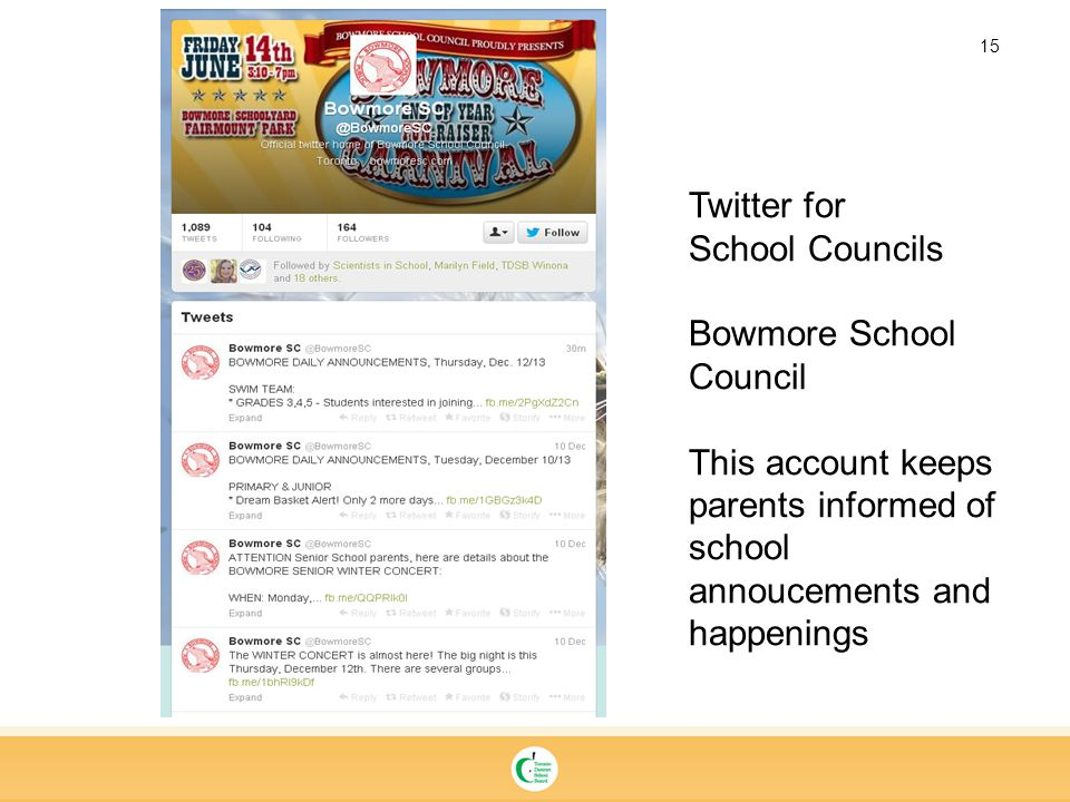 15 Twitter for School Councils Bowmore School Council This account keeps parents informed of school annoucements and happenings