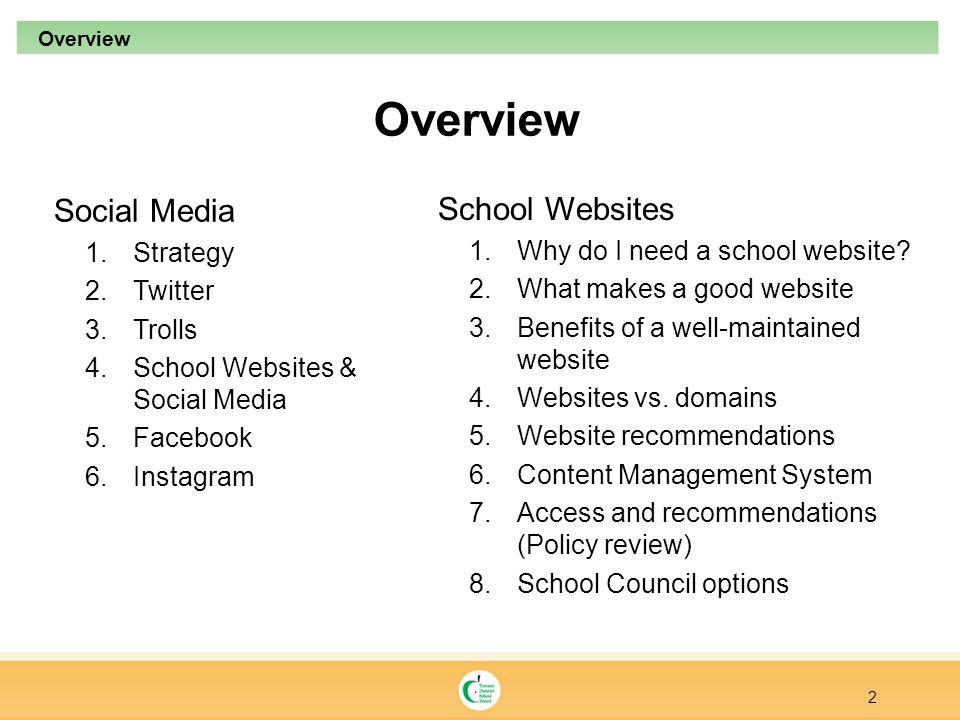 Overview Social Media 1.Strategy 2.Twitter 3.Trolls 4.School Websites & Social Media 5.Facebook 6.Instagram 2 Overview School Websites 1.Why do I need