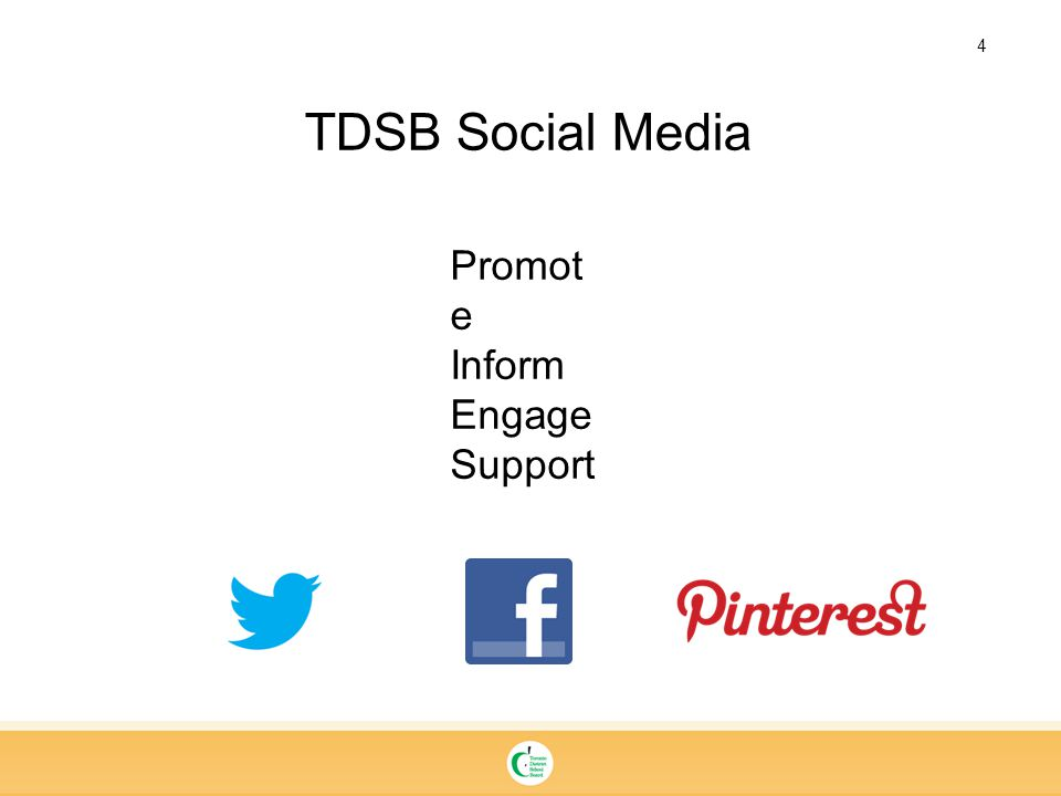 4 TDSB Social Media Promot e Inform Engage Support