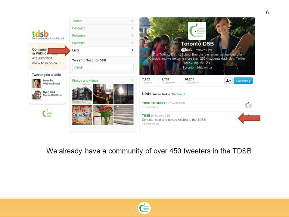 6 We already have a community of over 450 tweeters in the TDSB