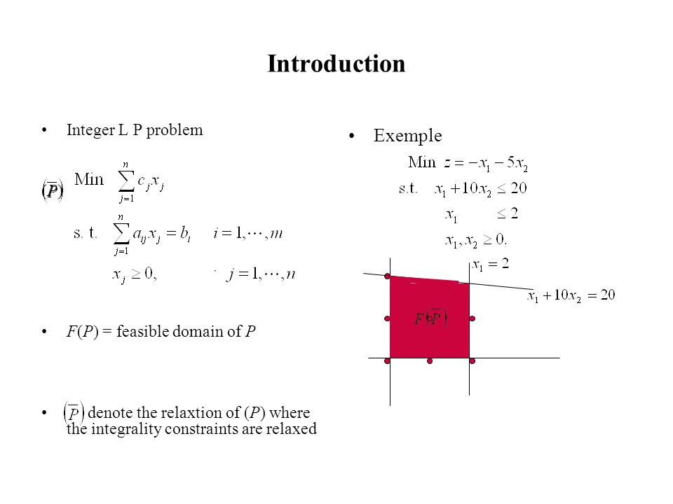 Introduction Integer L P problem (P) F(P) = feasible domain of P denote the relaxtion of (P) where the integrality constraints are relaxed Exemple