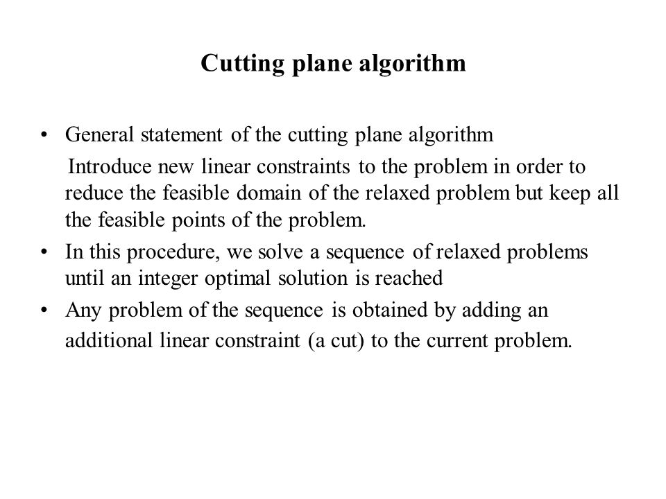 The Branch & Bound method Initialisation The list of candidate problem includes only the problem (P) BS = ∞ Go to Step 2.