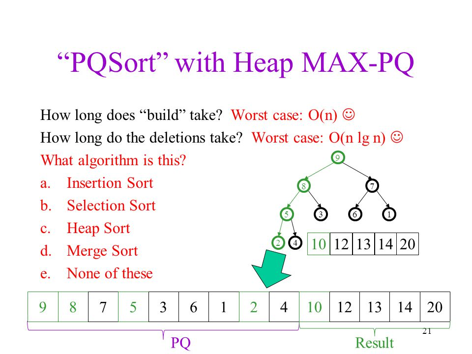 """""""PQSort"""" with Heap MAX-PQ 21 How long does """"build"""" take? Worst case: O(n) How long do the deletions take? Worst case: O(n lg n) What algorithm is this"""
