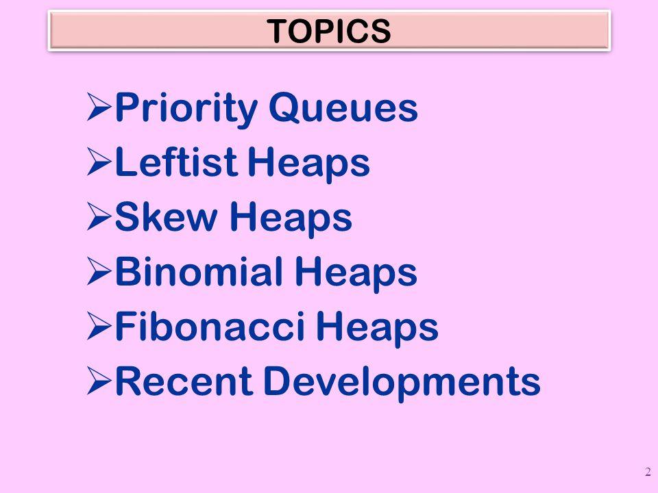 TOPICS  Priority Queues  Leftist Heaps  Skew Heaps  Binomial Heaps  Fibonacci Heaps  Recent Developments 2