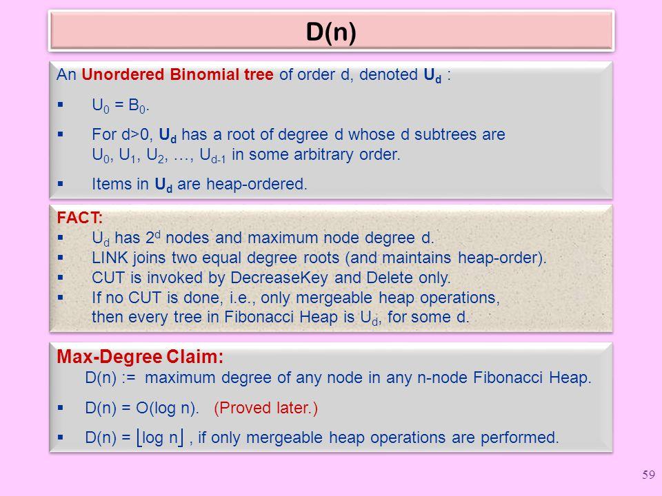 D(n) Max-Degree Claim: D(n) := maximum degree of any node in any n-node Fibonacci Heap.  D(n) = O(log n). (Proved later.)  D(n) =  log n , if only