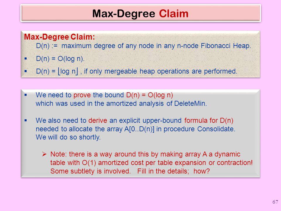 Max-Degree Claim Max-Degree Claim: D(n) := maximum degree of any node in any n-node Fibonacci Heap.  D(n) = O(log n).  D(n) =  log n , if only mer