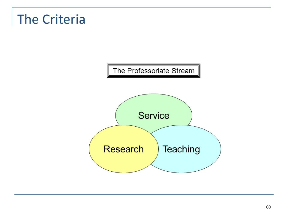 The Criteria 60 The Professoriate Stream Service TeachingResearch