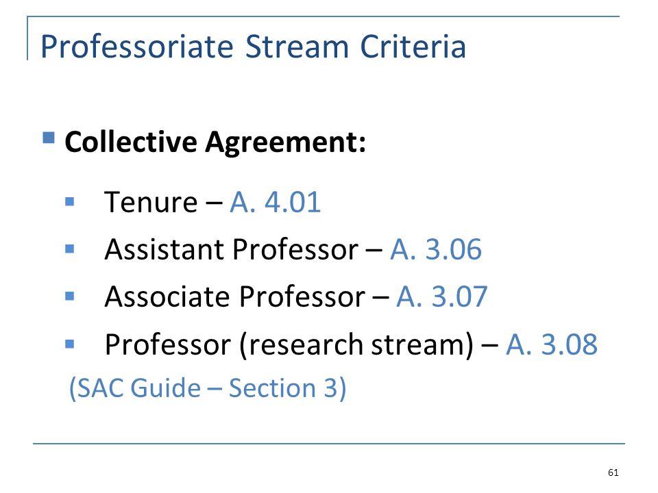 Professoriate Stream Criteria  Collective Agreement:  Tenure – A. 4.01  Assistant Professor – A. 3.06  Associate Professor – A. 3.07  Professor (