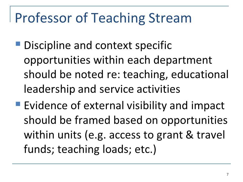 Part Three: Criteria and Evidence for Professoriate Stream