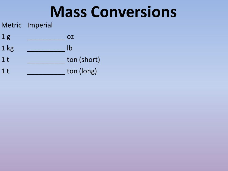Mass Conversions MetricImperial 1 g__________ oz 1 kg__________ lb 1 t__________ ton (short) 1 t__________ ton (long)