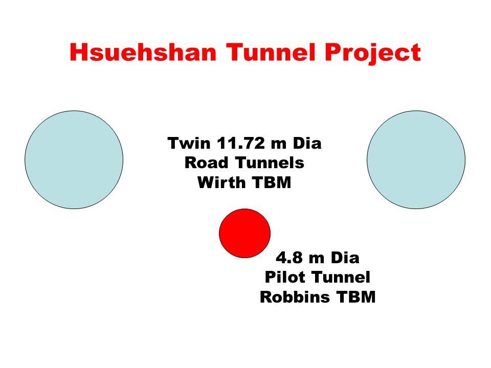 4.8 m Dia Pilot Tunnel Robbins TBM Twin 11.72 m Dia Road Tunnels Wirth TBM Hsuehshan Tunnel Project