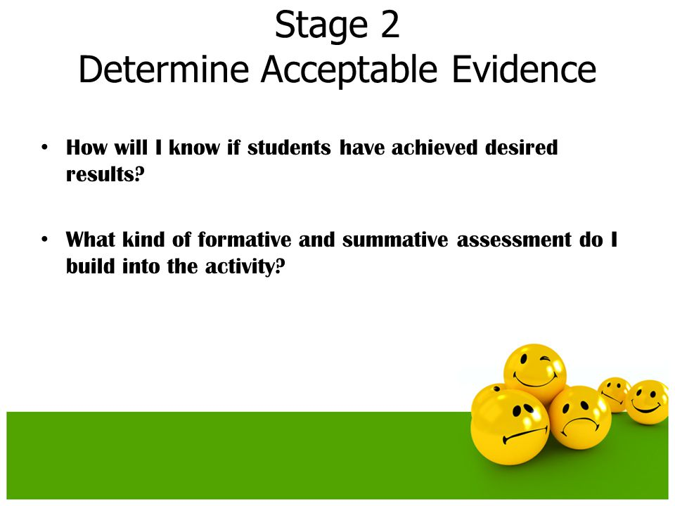Stage 2 Determine Acceptable Evidence How will I know if students have achieved desired results? What kind of formative and summative assessment do I
