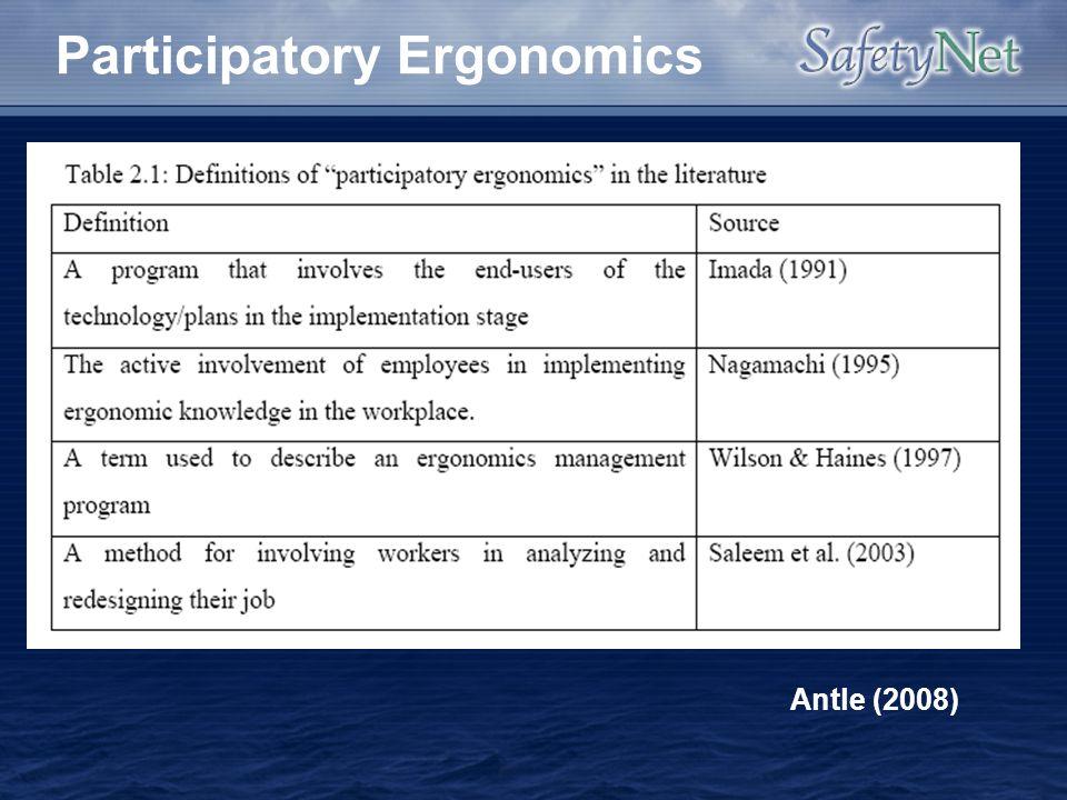 Participatory Ergonomics Antle (2008)