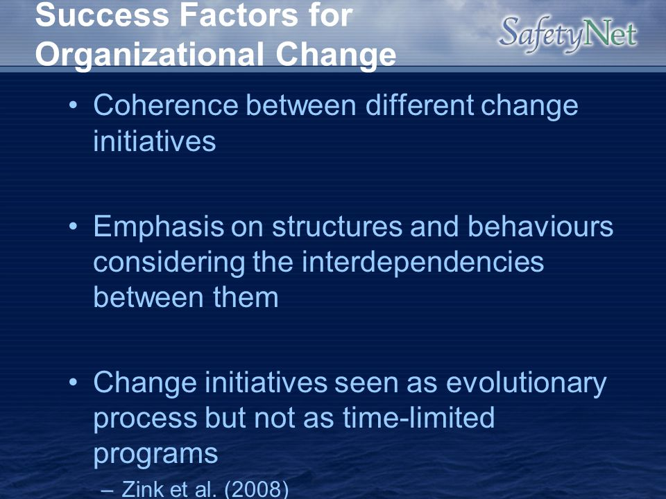 Success Factors for Organizational Change Coherence between different change initiatives Emphasis on structures and behaviours considering the interde