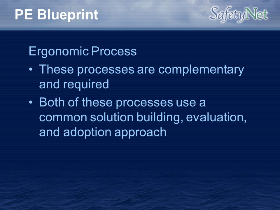 PE Blueprint Ergonomic Process These processes are complementary and required Both of these processes use a common solution building, evaluation, and