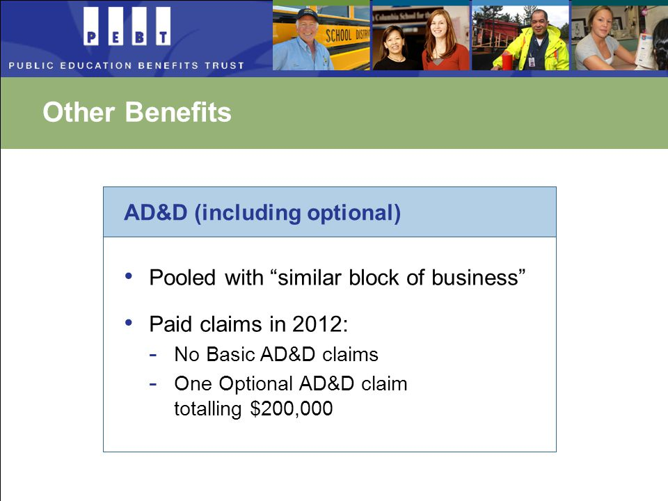 Other Benefits AD&D (including optional) Pooled with similar block of business Paid claims in 2012: - No Basic AD&D claims - One Optional AD&D claim totalling $200,000